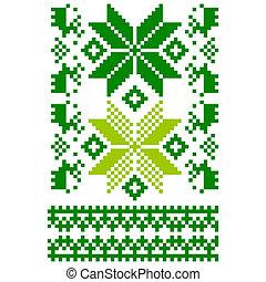 White knitted Scandinavian scarf - Scandinavian ornament for...