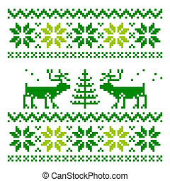 White knitted scandinavian scarf with deer - Scandinavian...