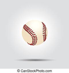 white labda, baseball, elszigetelt, árnyék