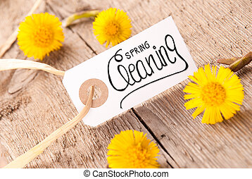 White Label, Dandelion, Calligraphy Spring Cleaning, Wooden Background