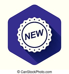 White Label New icon isolated with long shadow. Purple hexagon button. Vector Illustration