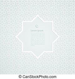 White label ramadan kareem greeting card on islamic pattern...
