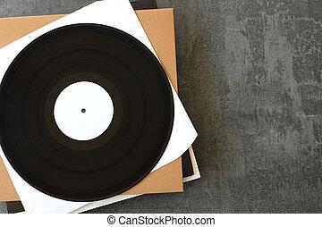 white label vinyl records music background