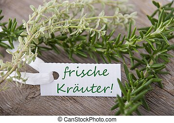 white label with frische Kraeuter