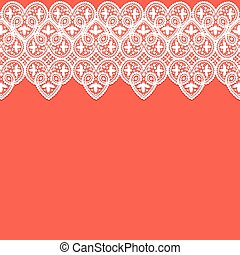 White lace border - Red background with white lace pattern...
