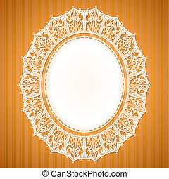 White lace doily on an orange background