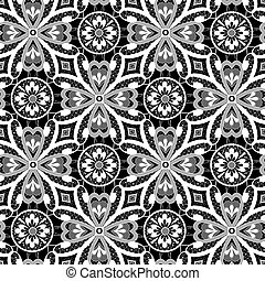 White lace floral seamless pattern on black