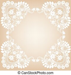 White Lace Frame - Elegant white lace frame on a beige...