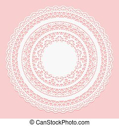 White lace napkin on a pink background. Openwork round frame.