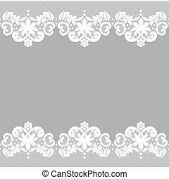 Invitation, greeting or wedding card with white lace on gray background