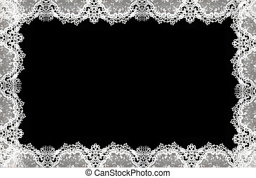 White lace pattern isolated on  a delicate border against black background.