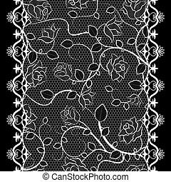 White lace seamless pattern with roses on black background