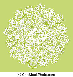 White lace serviette on green background