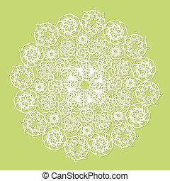 White lace serviette on green background