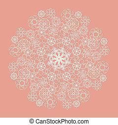 White lace serviette on pink background