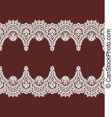 White Lace Vector Pattern. Horizontal Ribbon. Border.