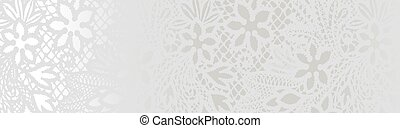 White lace with  flowers on the white background
