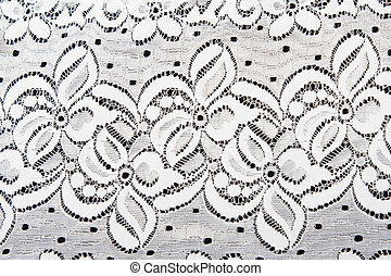 White lace with pattern in the manner of flower