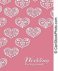 White lacy hearts on pink - romance wedding background