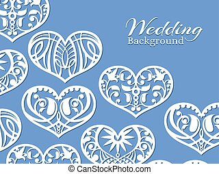 White lacy hearts wedding background
