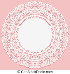 White lacy napkin on a pink background. Openwork round lace frame. Vector illustration