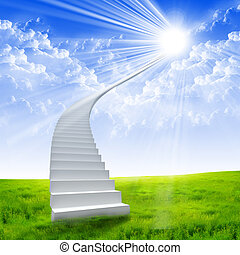 White ladder extending to a bright sky against a background ...