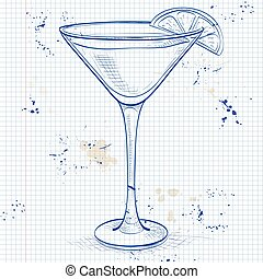 White Lady Cocktail on a notebook page
