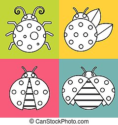 White ladybugs with stroke on color background