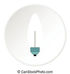 White lamp icon, flat style - White lamp icon. Flat...