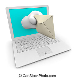 White Laptop Delivering Your e-Mail - A hand comes out of a...