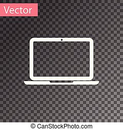White Laptop icon isolated on transparent background. Computer notebook with empty screen sign. Vector Illustration