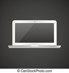 White laptop in a realistic style on a black background
