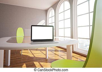White laptop in modern interior