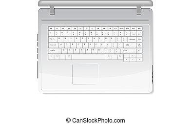 White laptop isolated on white background