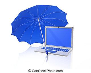 White Laptop Under Blue Umbrella