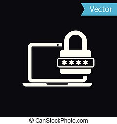 White Laptop with password notification and lock icon isolated on black background. Concept of security, personal access, user authorization, login form. Vector Illustration