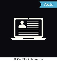 White Laptop with resume icon isolated on black background. CV application. Searching professional staff. Analyzing personnel resume. Vector Illustration