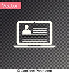 White Laptop with resume icon isolated on transparent background. CV application. Searching professional staff. Analyzing personnel resume. Vector Illustration