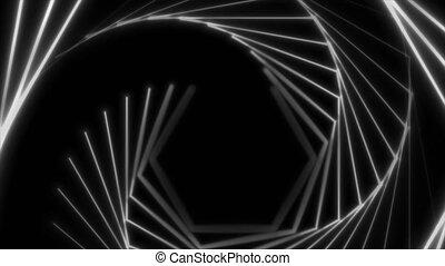 White laser hexagonal lines abstract hi-tech neon motion background. Seamless looping. Video animation Ultra HD 4K 3840x2160