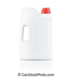 White laundry detergent powder container.