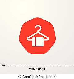 white laundry hanger icon in red vector eps10...