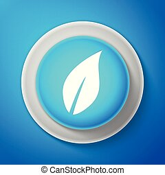 White Leaf icon isolated on blue background. Circle blue button with white line. Vector Illustration