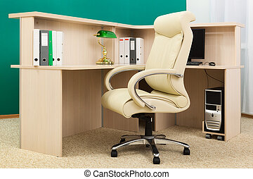 modern office - white leather armchair in a modern office