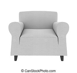 white leather armchair isolated on white
