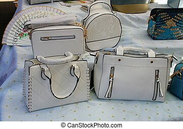 White leather bags of different designs