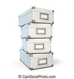 White leather closed boxes 3D