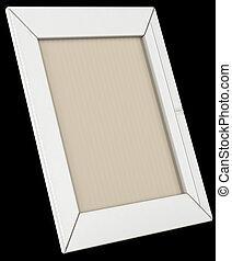 White leather photo frame isolated on black