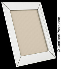 White leather photo frame isolated on black