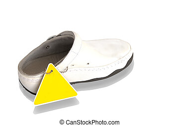 White leather shoe isolated with clipping path
