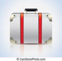 White Leather Suitcase